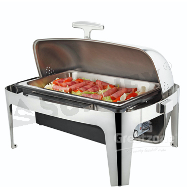 SUNNEX ELECTRIC S/S REC ROLL TOP CHAFING DISH